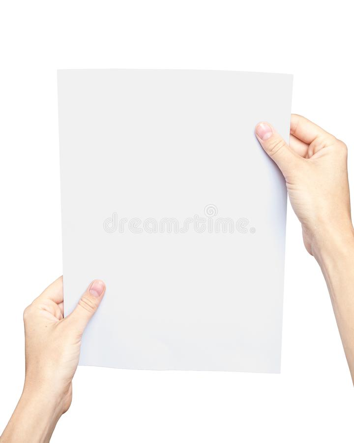 Women`s hands holding a blank sheet of paper. Isolated on white stock photos