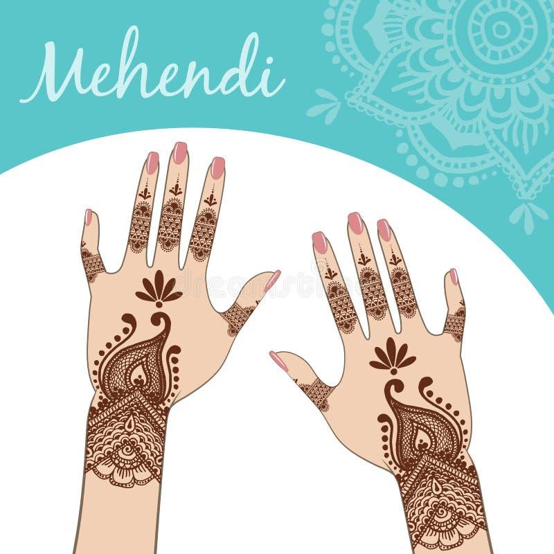 Women's hands, manicure. Mehendi. stock illustration
