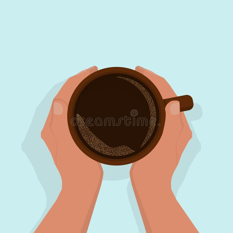 Women`s hands are warming, gently holding a cup of hot black coffee, with foam. View from above. stock illustration
