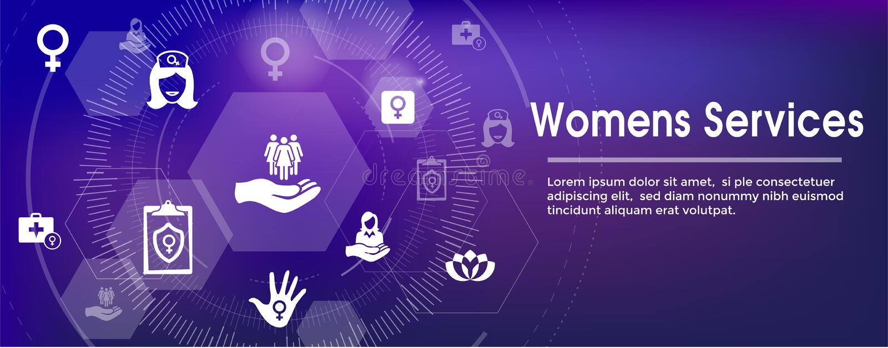 Women`s Health Services Icon Set Web Header Banner - Abstract De vector illustration