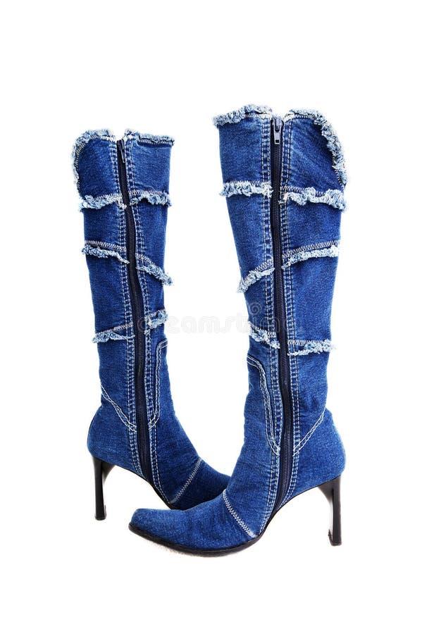 Free Women`s High Heel Denim Boots On White Background Stock Photos - 103853813
