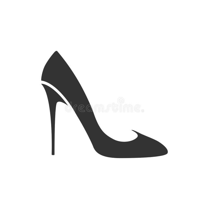 Free Women`s High-heel Shoe Icon. Black Shoe Isolated On White Background. Stock Image - 141868211
