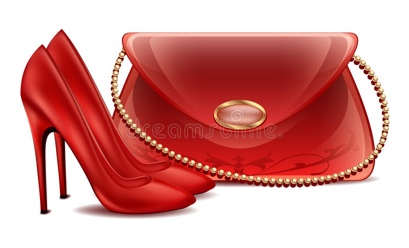 Women's high-heeled shoes lady's beautiful lacquered handbag with small pearl chain. Clipart on white background royalty free illustration