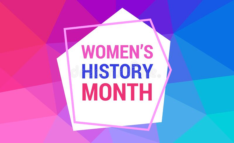 Women`s History Month is celebrated in march. Text on the background abstract low poly style. Banner, poster Women s History Mont. H in the red, pink, blue vector illustration