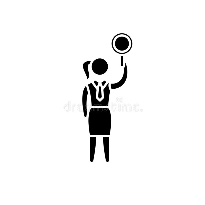 Women`s issue black icon, vector sign on isolated background. Women`s issue concept symbol, illustration stock illustration
