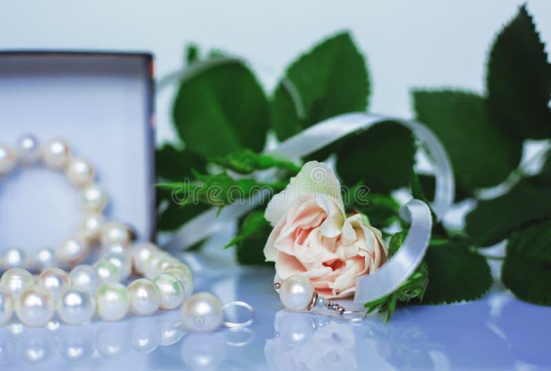 Women`s jewelry earring necklace bracelet stock images