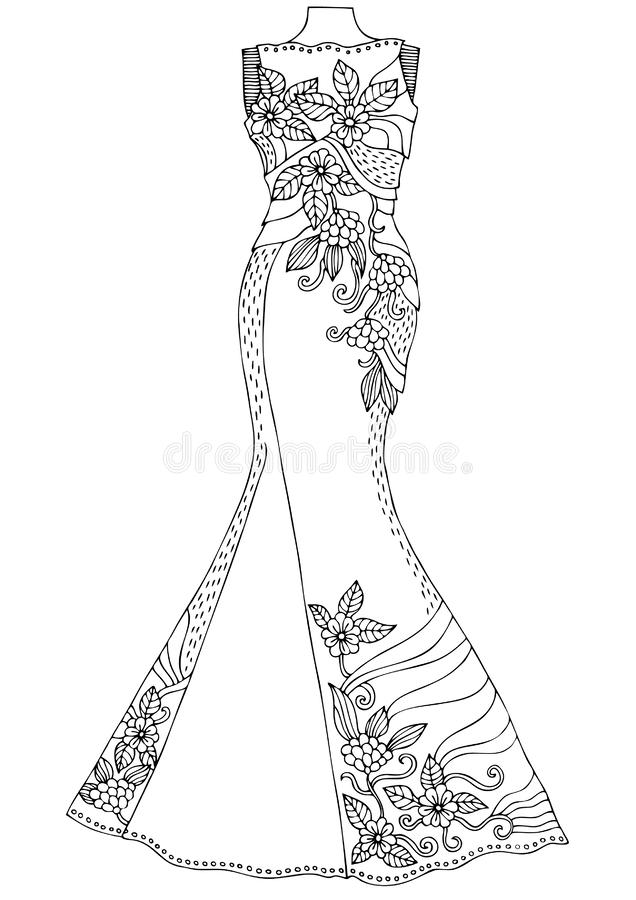 Women`s lace dress. Hand drawn illustration for coloring page, poster or invitation card design. stock illustration