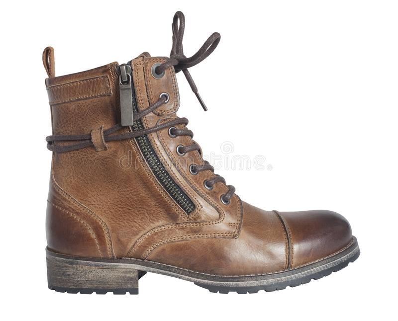 Women`s lace up brown boot stock photo