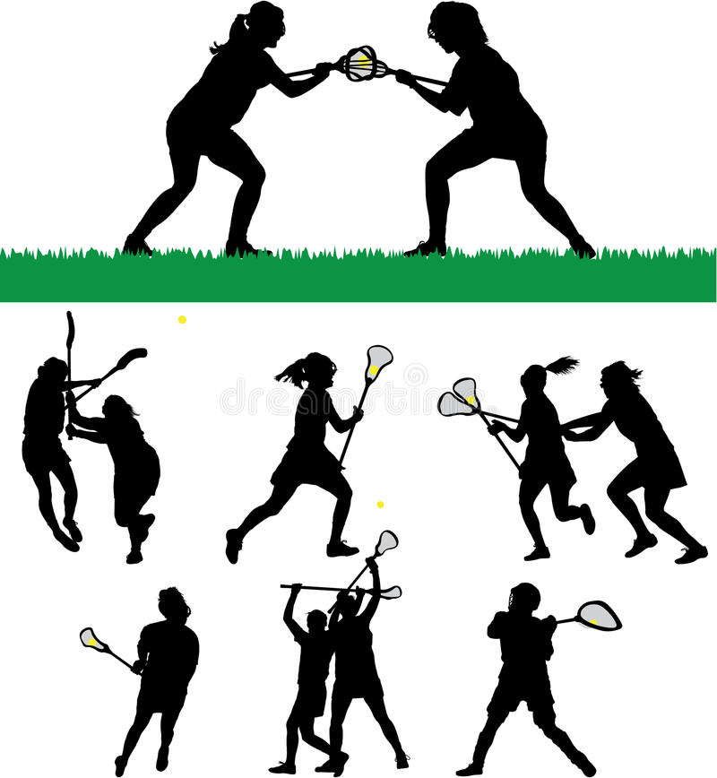 Women's Lacrosse Silhouettes stock illustration