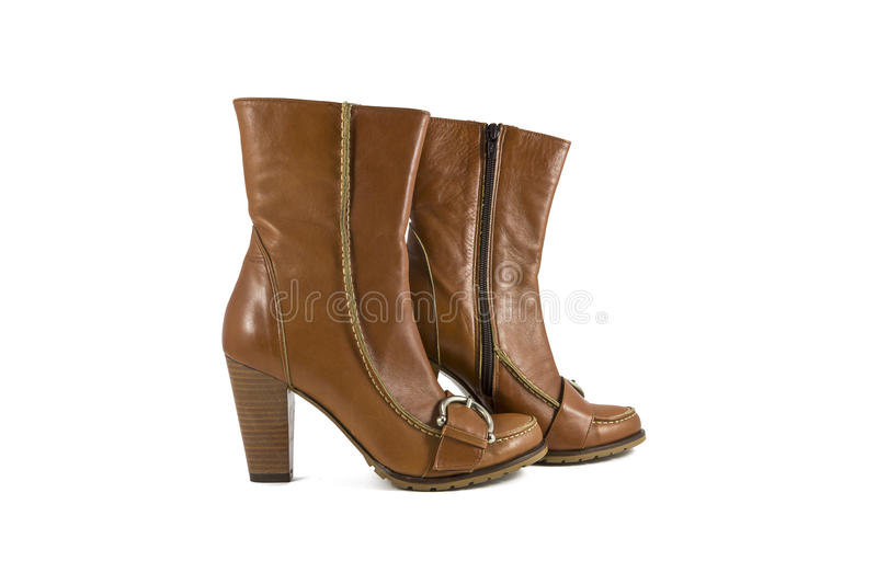 Women's leather boots royalty free stock image