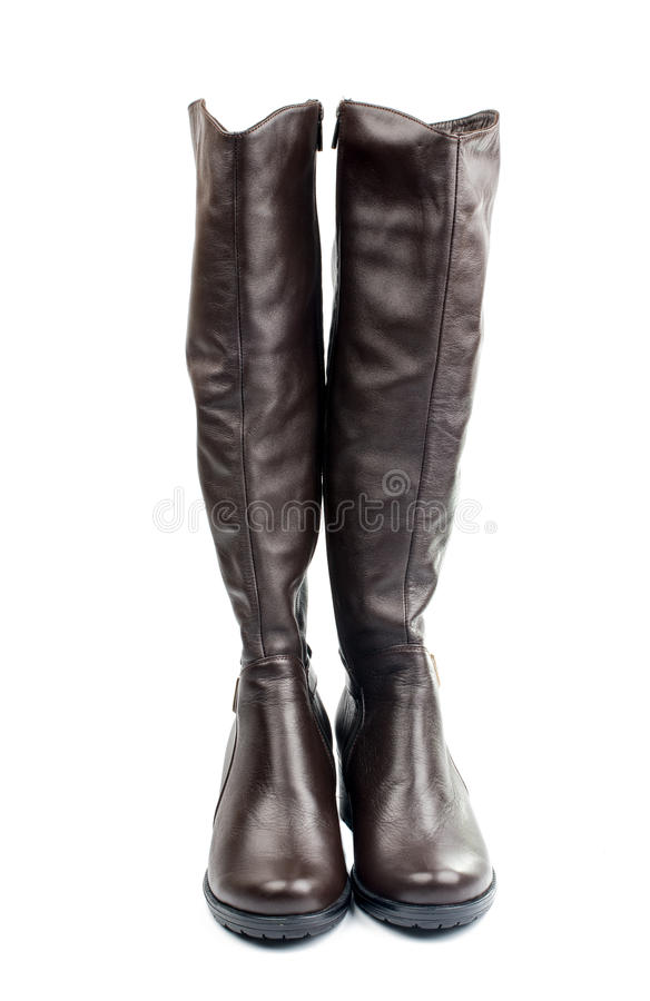 Women's leather boots. On a white background stock photography