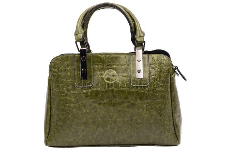 Women`s leather green bag alligator pattern. Isolate. stock photo