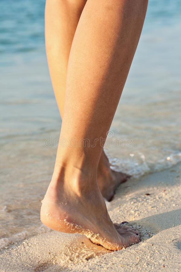 Women`s legs on a beach. Women`s legs is on a beach stock image