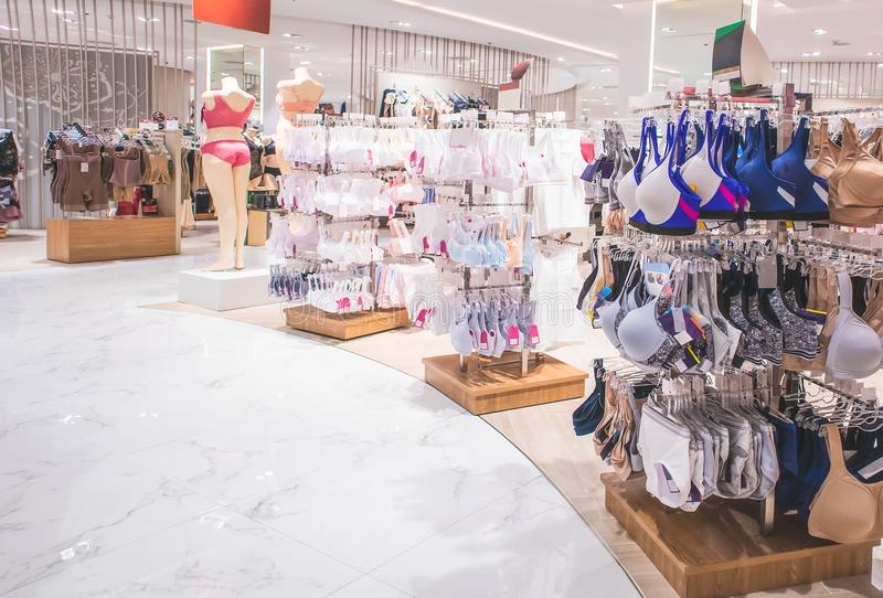 Women`s lingerie department in Shopping Mall isolated on white stock image