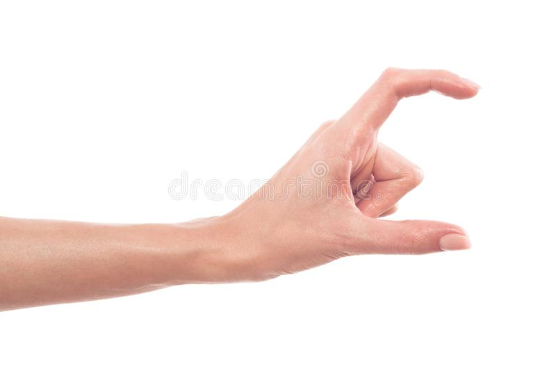 Women`s manicure hands measuring invisible objects, showing a small amount of something on a white isolated background. Women`s manicure hands measuring stock images