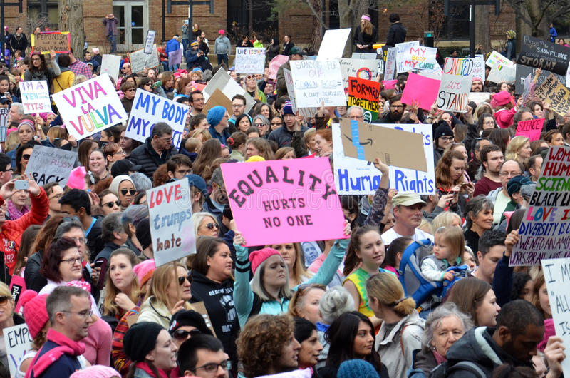Women`s March Ann Arbor 2017. ANN ARBOR, MI - JAN 21: Protesters rally at the Women's March in Ann Arbor on January 21, 2017 royalty free stock photos