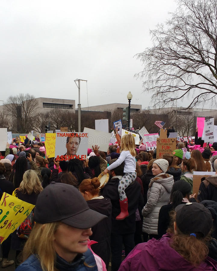 Women`s March, Children at the Event, Unique Posters and Signs, Washington, DC, USA. Women`s March on Washington, January 21, 2017: A record number of stock photo