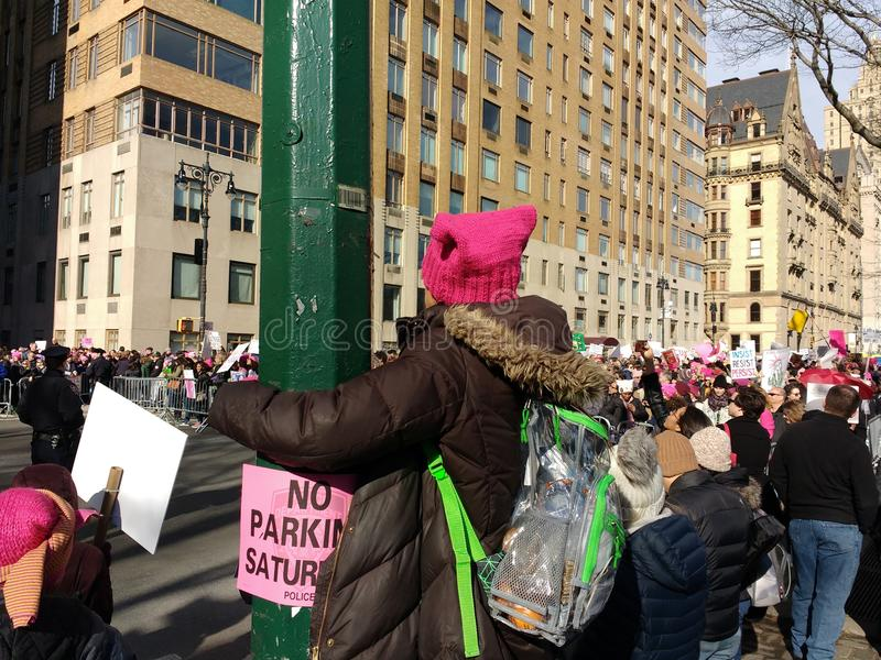 Women`s March Crowd, NYC, NY, USA royalty free stock images