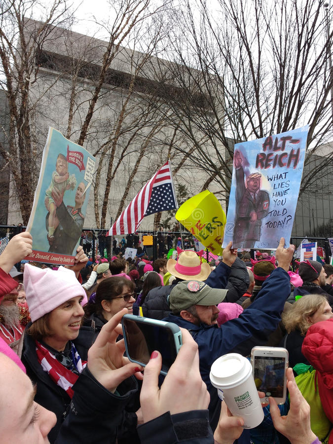 Women`s March, Donald Trump and Vladimir Putin Nazi Style Posters, Washington, DC, USA stock photography