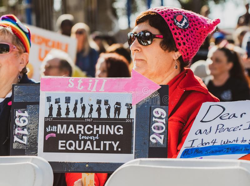 2019 Women`s March for Equality. Women from all over the United States march in the streets of local citys in protest for equality.  This event was held in royalty free stock photos