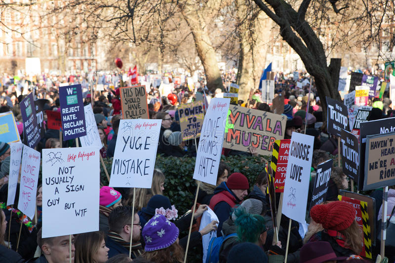 Women`s March London, 2017 royalty free stock photo