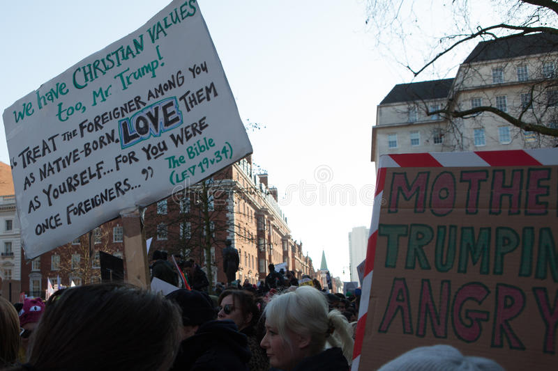 Women`s March London, 2017 royalty free stock photography