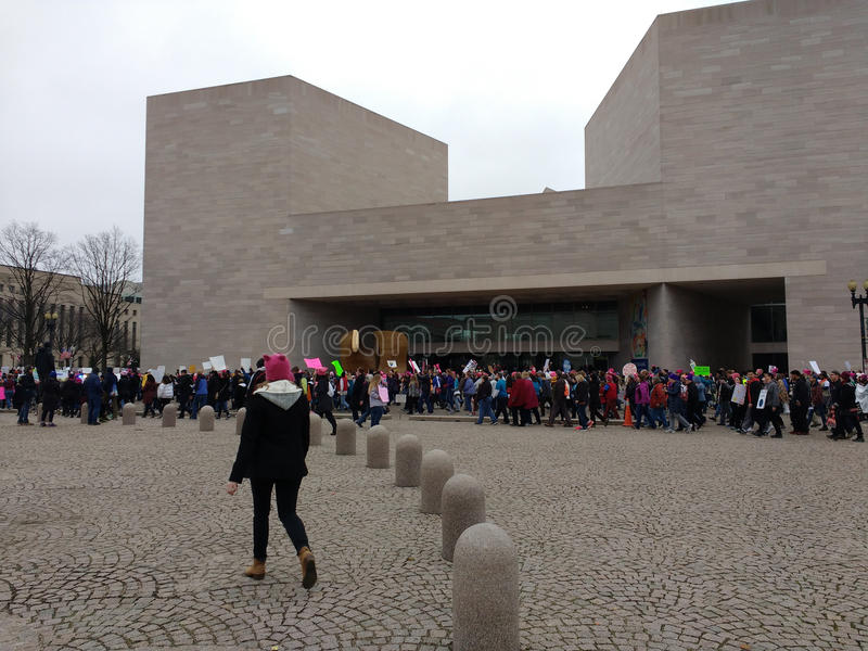 Women`s March, National Gallery of Art East Building, Washington, DC, USA. Women`s March on Washington, January 21, 2017: A record number of demonstrators royalty free stock images