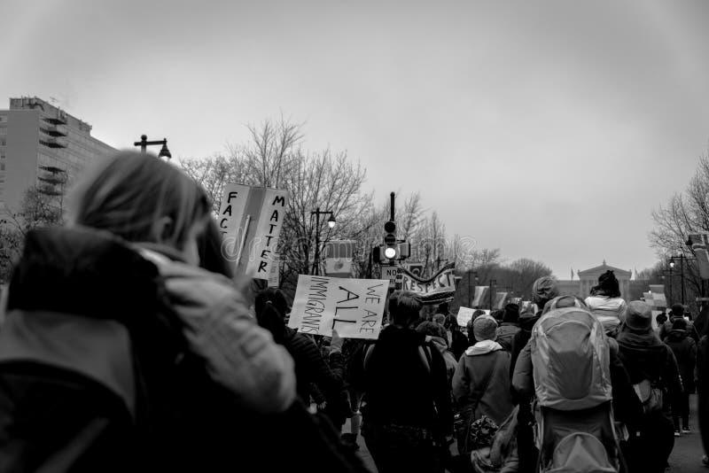 Women`s March, Philadelphia Girl joining march. Women`s March Philadelphia January 21 2017 royalty free stock image