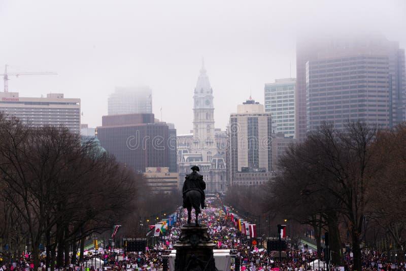 Women`s March, Philadelphia, overlooking Rocky steps. Women`s March Philadelphia January 21 2017 stock image