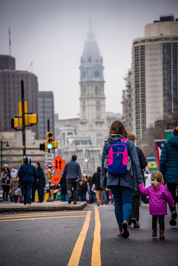 Women`s March, Philadelphia, Mother and daughter join march. Women`s March Philadelphia January 21 2017 stock image