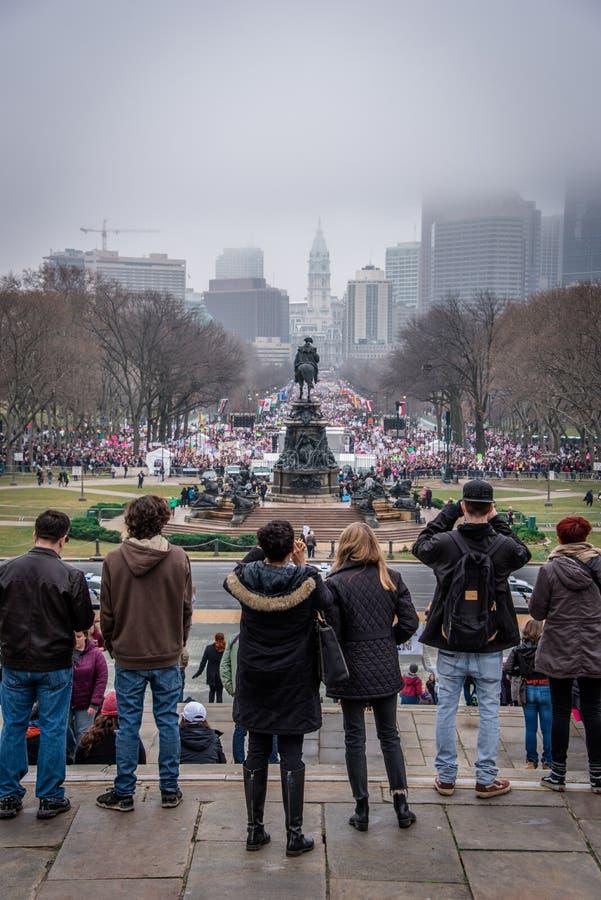 Women`s March, Philadelphia, overlooking Rocky steps. Women`s March Philadelphia January 21 2017 stock photo
