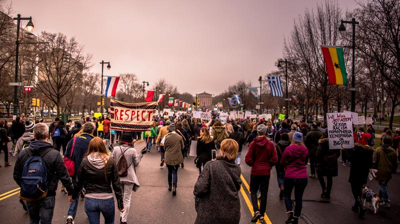 Women`s March, Philadelphia, overlooking Rocky steps. Women`s March Philadelphia January 21 2017 stock images