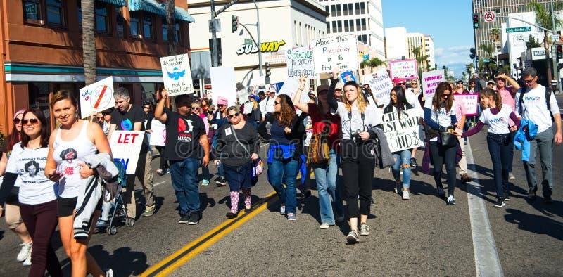 2018 Women`s March in Santa Ana, California. Santa Ana, California - January 20, 2018: Women standing up for their rights at the 2018 Women`s March in Santa Ana royalty free stock image