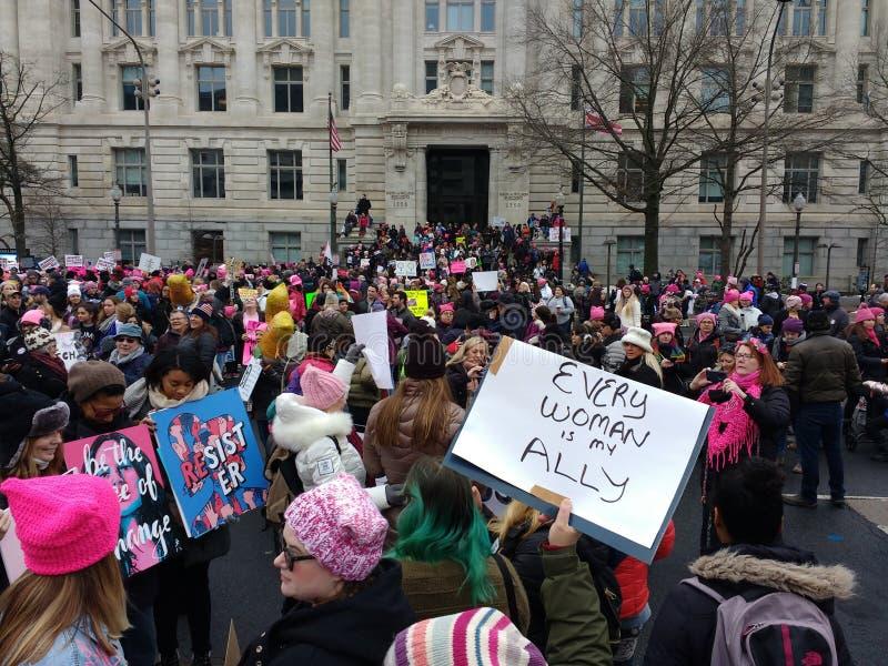 Female Empowerment, Every Woman Is My Ally, Womens March, Washington, DC, USA. Women& x27;s March on Washington. Demonstrators gather near Freedom Plaza before stock photos