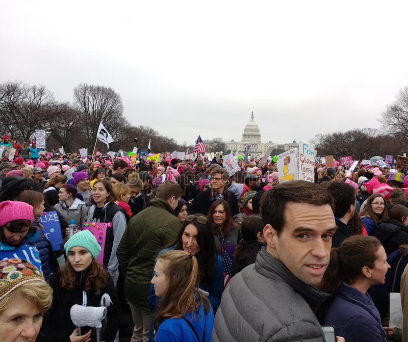 Women`s March on Washington, Men at the March, Protesters Rally Against President Donald Trump, Washington, DC, USA. Women`s March on Washington, January 21 royalty free stock image