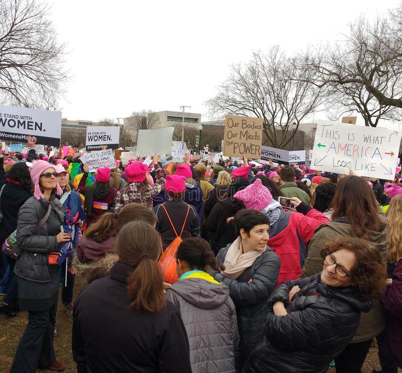 Women`s March on Washington, This Is What America Looks Like, Protesters Rally Against President Donald Trump, Washington, DC, USA stock photos