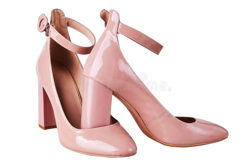 Women`s Nude High Heel shoes with ankle straps isolated royalty free stock photography