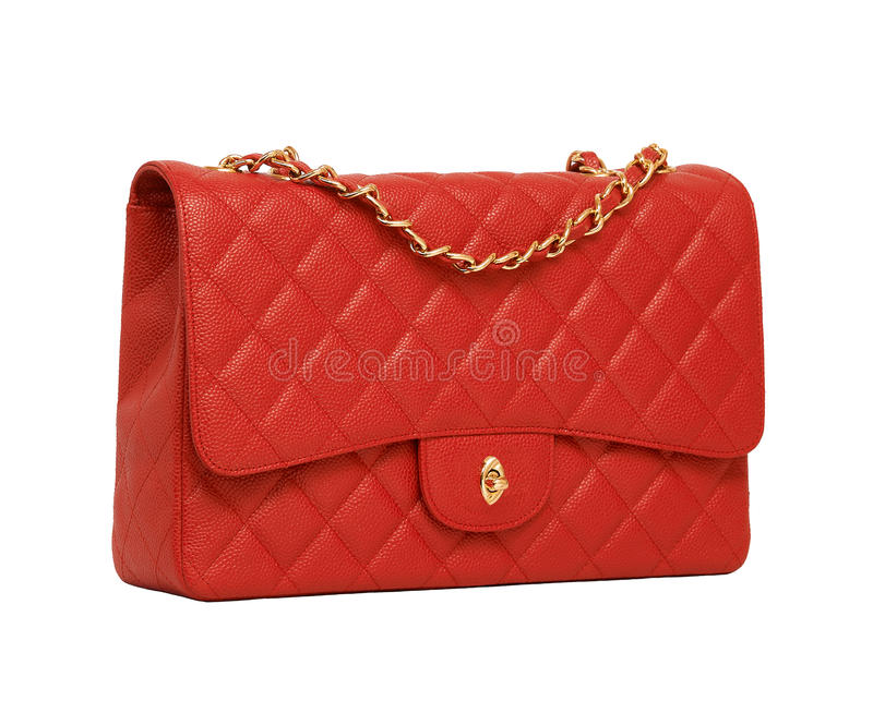 Women's red leather handbag stock photo