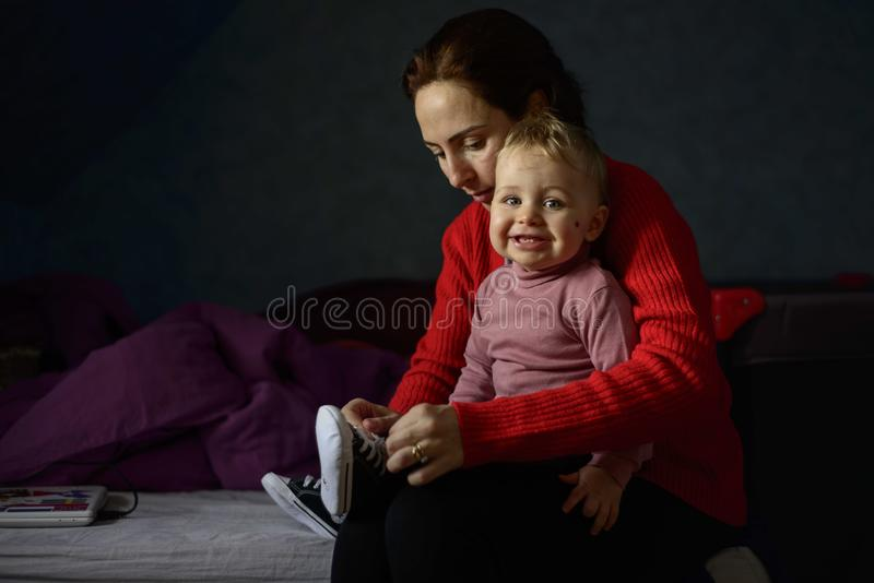 Women's Red Sweater royalty free stock photography