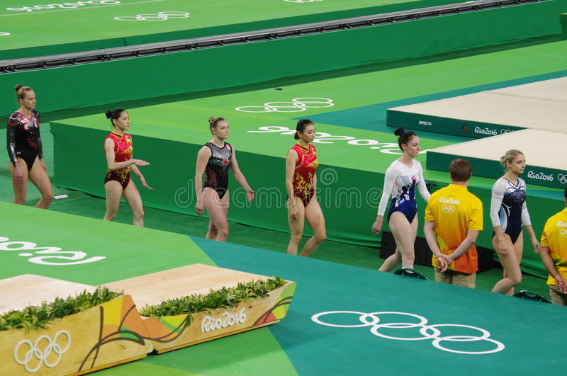 Women's Rio2016 Olympic finals trampoline athletes. Athletes of the Women's Rio2016 Olympic trampoline final competition. Picture taken Aug 12, 2016 stock images
