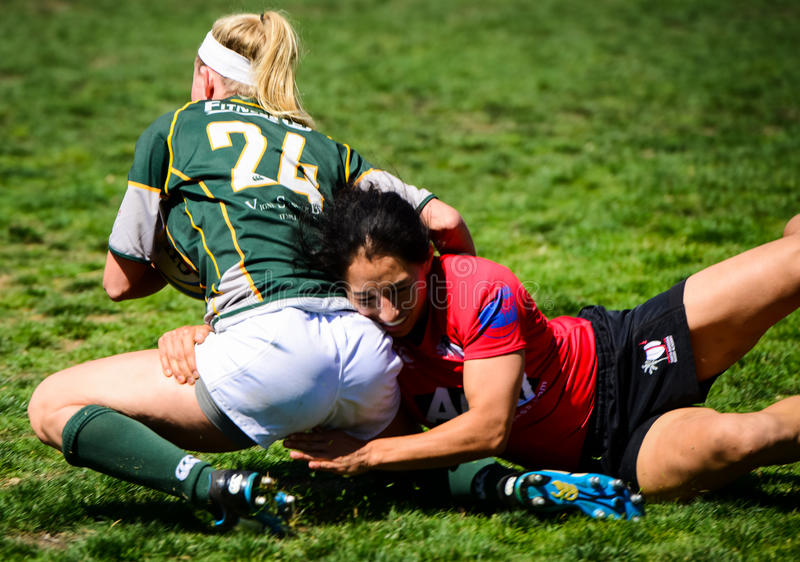 Women`s Rugby Tackle royalty free stock images