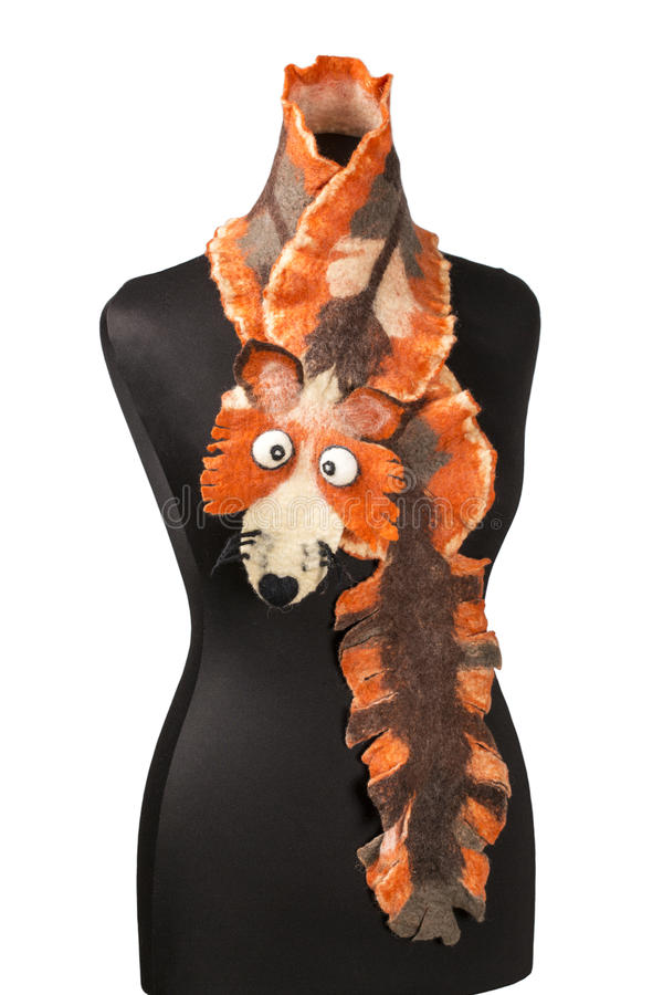Women's scarf with the image of the fox of fulled wool. On a mannequin royalty free stock photography