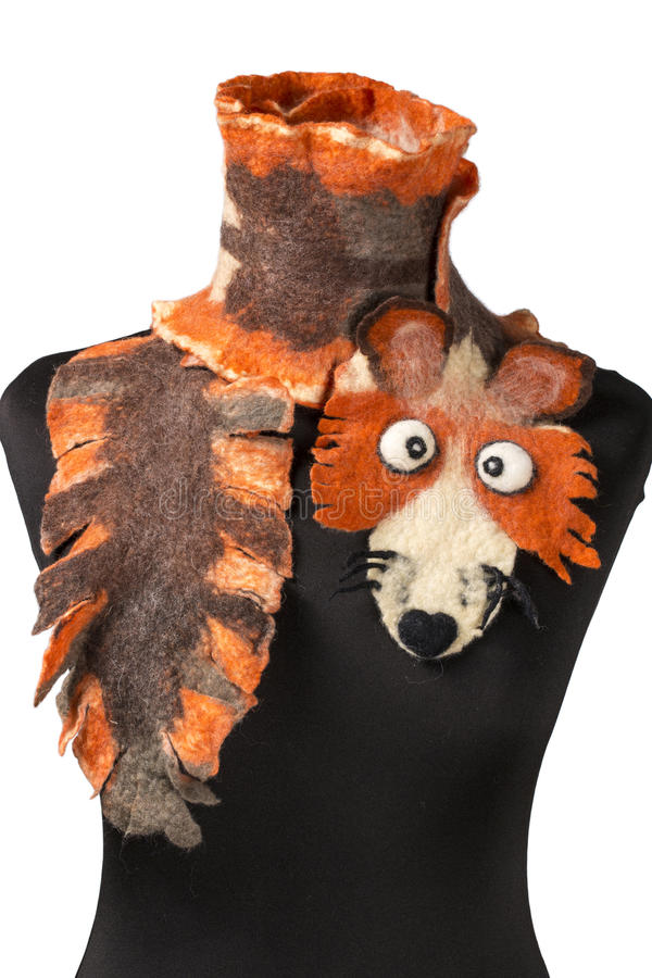 Women's scarf with the image of the fox of fulled wool. On a mannequin stock photography