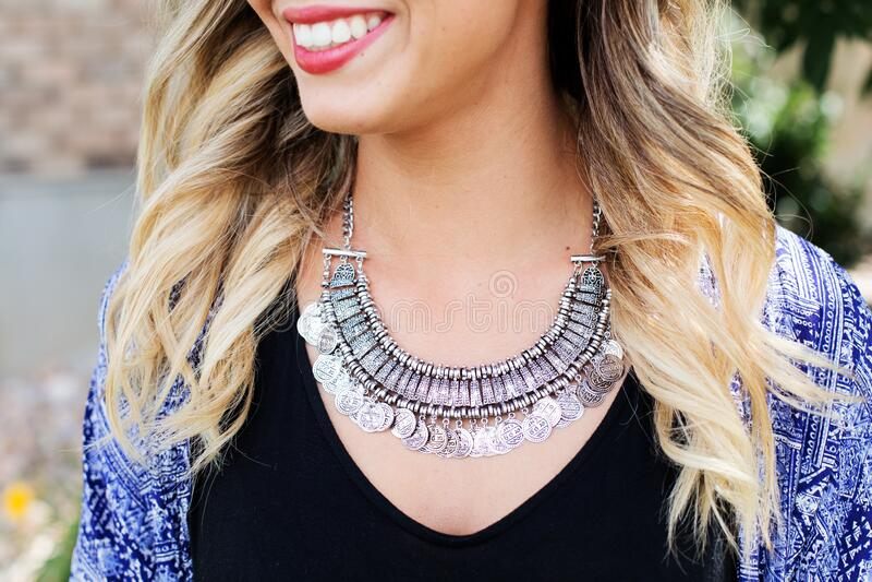 Women's Silver Necklace royalty free stock photos