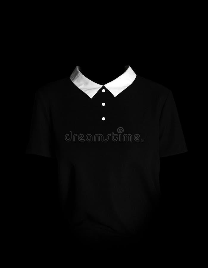 Women`s simple black dress. Black dress with white collar. Three stock image