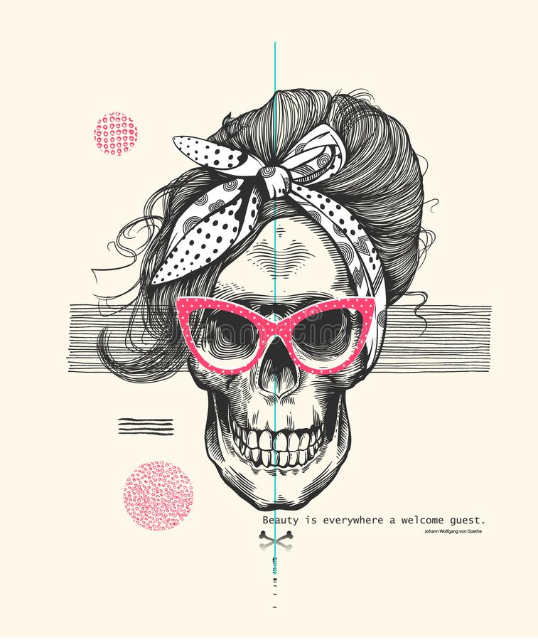 Women`s skeleton skull in pop art style wearing cool sunglasses with fashionable hairstyle and scarf against abstract stock illustration