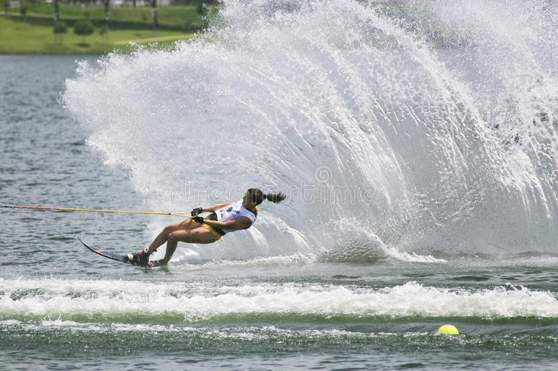 Women's Slalom Action - Anais Amade. Image of Anais Amade of France competing in the Women's Slalom Finals event at the 2009 Putrajaya Waterski World Cup, held royalty free stock images