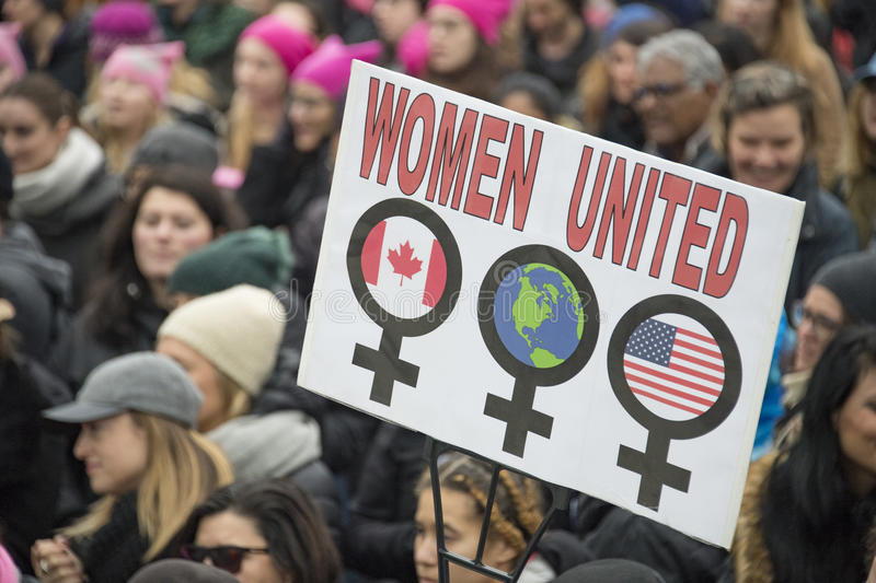 Women`s Solidarity March in Toronto, Canada- January 21, 2016 royalty free stock photo