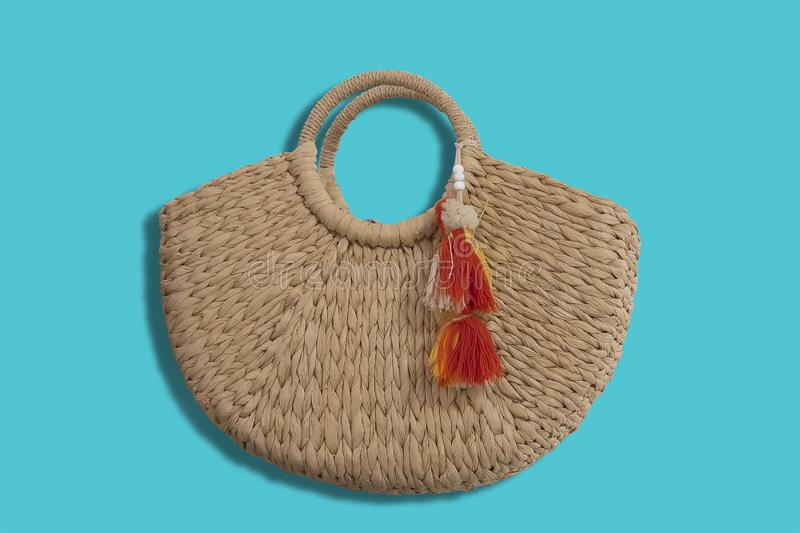 Women`s straw bag royalty free stock photography