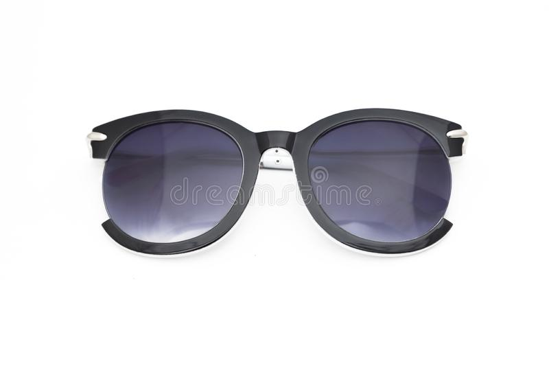 Women`s sunglasses with purple tint stand frontally isolated. On a white background stock photography